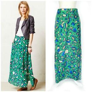 Vanessa Virginia Green Silk Palme Maxi Skirt